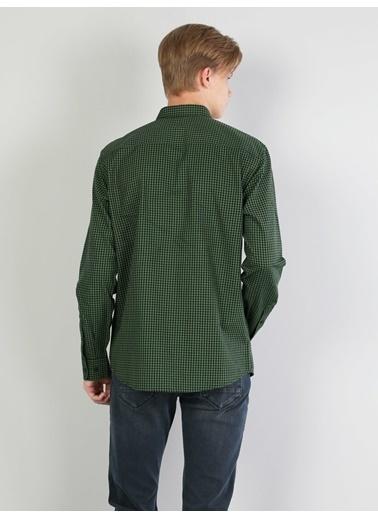 Colin's Regular Fit Shirt Neck Erkek Kırmızı Uzun Kol Gömlek Yeşil